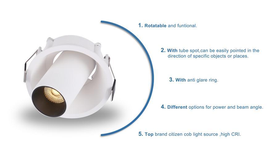 Adjustable downlight spot details